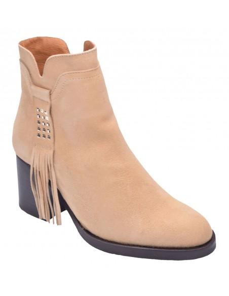 chaussure, bottines, femme petites pointures, camel, vue diagonale