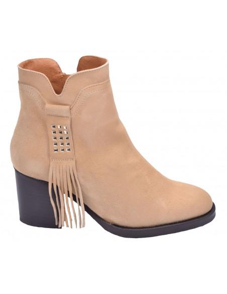 chaussure, bottines, femme petites pointures, camel, vue profil