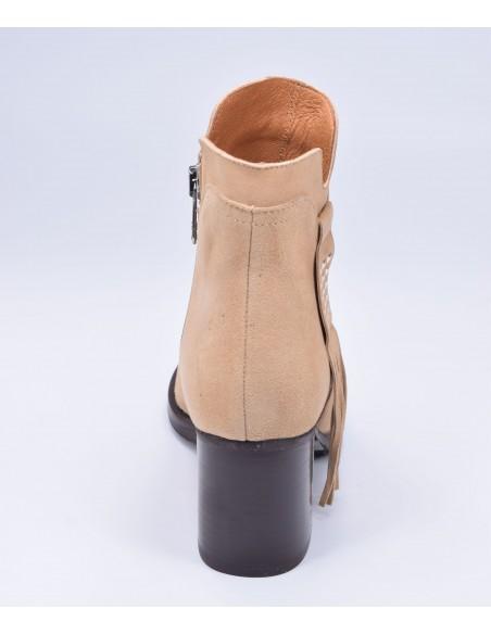 chaussure, bottines, femme petites pointures, camel, vue talon arrière
