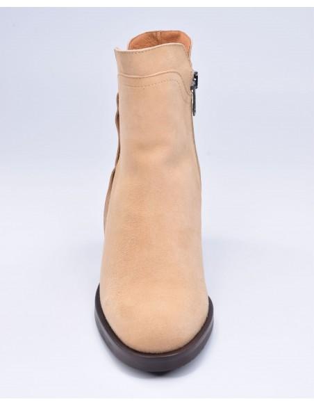 chaussure, bottines, femme petites pointures, camel, vue avant