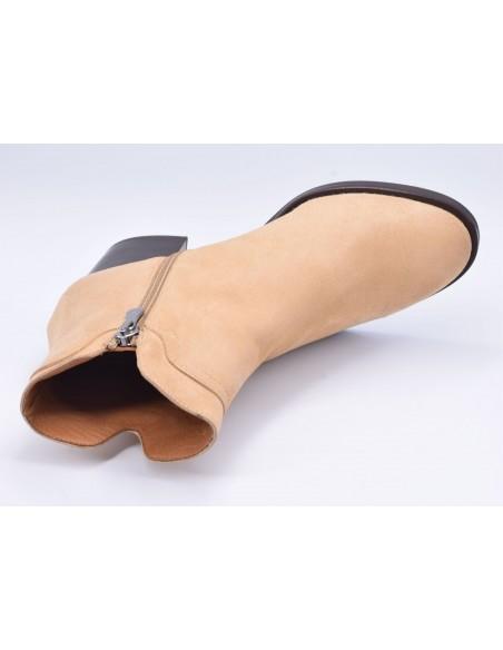 chaussure, bottines, femme petites pointures, camel, vue diagonale couché avant