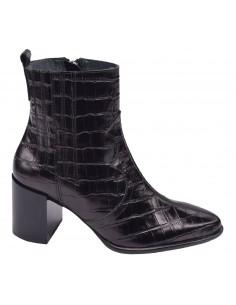 chaussure, bottines, femme petites pointures, croco, noir, vue profil