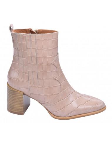 chaussure, bottines, femme petites pointures, croco, nude, vue profil