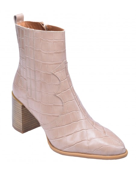 chaussure, bottines, femme petites pointures, croco, nude, vue diagonale