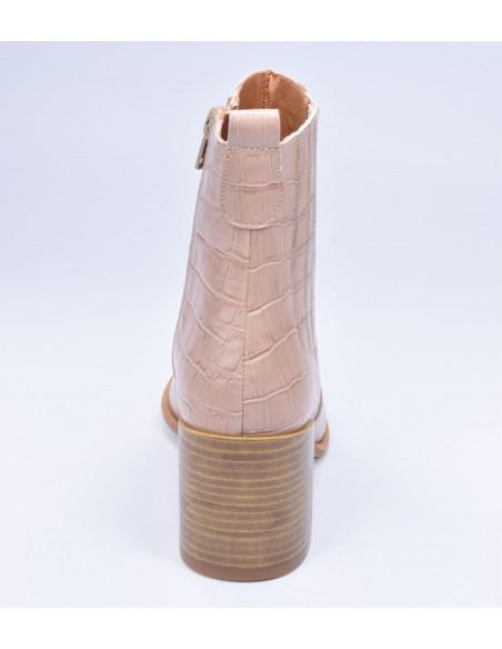 chaussure, bottines, femme petites pointures, croco, nude, vue talon arrière