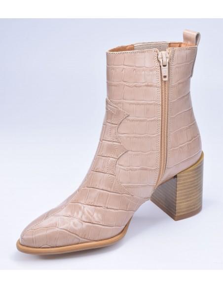 chaussure, bottines, femme petites pointures, croco, nude, vue côté intérieur