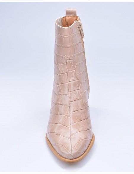 chaussure, bottines, femme petites pointures, croco, nude, vue avant