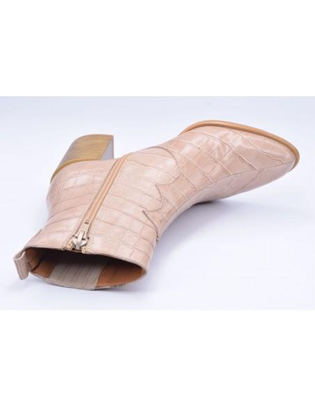 chaussure, bottines, femme petites pointures, croco, nude, vue diagonale couché avant