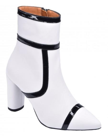 chaussure, bottines, femme petites pointures, blanc, vue diagonale