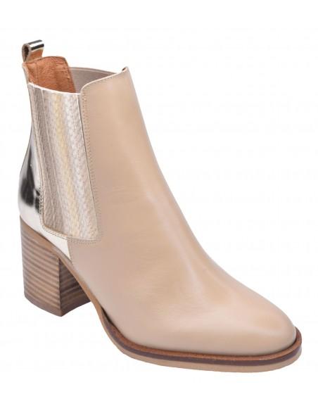 chaussure, bottines, femme petites pointures, nude, vue diagonale