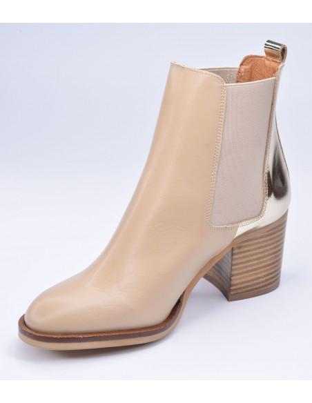 chaussure, bottines, femme petites pointures, nude, vue diagonale côté intérieur
