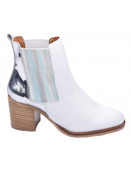 chaussure, bottines, femme petites pointures, blanc, vue profil