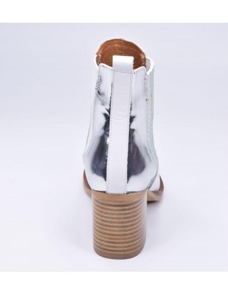 chaussure, bottines, femme petites pointures, blanc, vue talon arrière