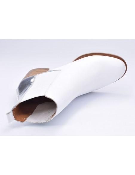 chaussure, bottines, femme petites pointures, blanc, vue diagonale couché avant