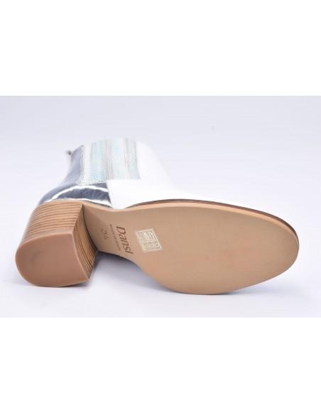 chaussure, bottines, femme petites pointures, blanc, vue couchée semelle