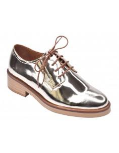 chaussure, derbies, femme petites pointures, or, vue diagonale