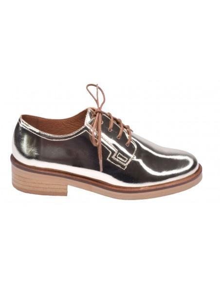 chaussure, derbies, femme petites pointures, or, vue profil
