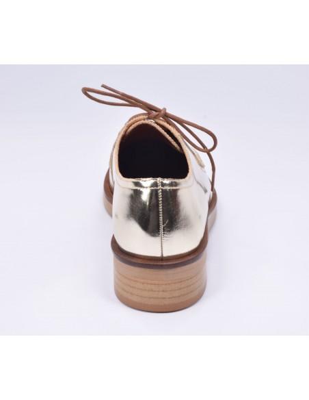 chaussure, derbies, femme petites pointures, or, vue talon arrière