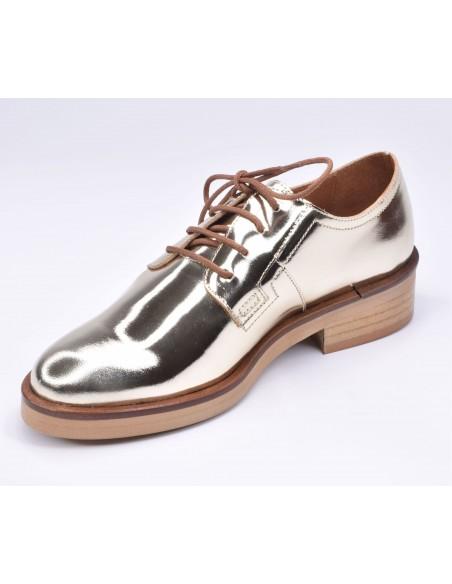 chaussure, derbies, femme petites pointures, or, vue diagonale côté intérieur