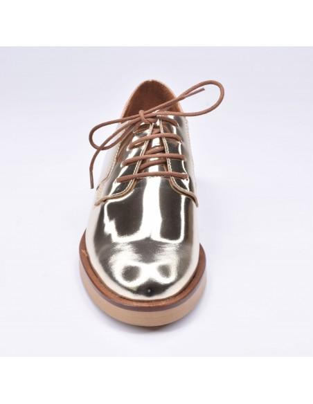 chaussure, derbies, femme petites pointures, or, vue avant