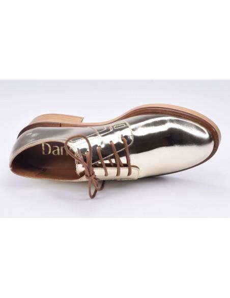 chaussure, derbies, femme petites pointures, or, vue diagonale couché avant