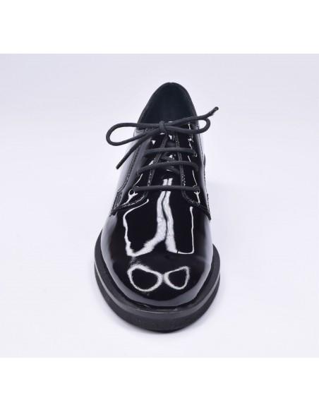 chaussure, derbies, femme petites pointures, noir, vue avant