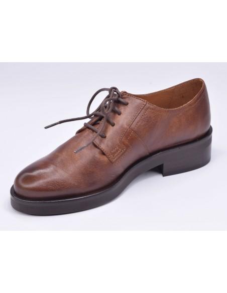 chaussure, derbies, femme petites pointures, marron, vue diagonale côté intérieur