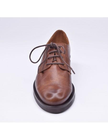 chaussure, derbies, femme petites pointures, marron, vue avant