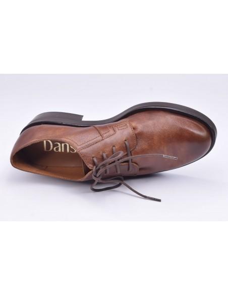 chaussure, derbies, femme petites pointures, marron, vue diagonale couché avant