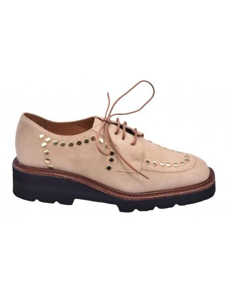 chaussure, derbies, femme petites pointures, beige, vue profil