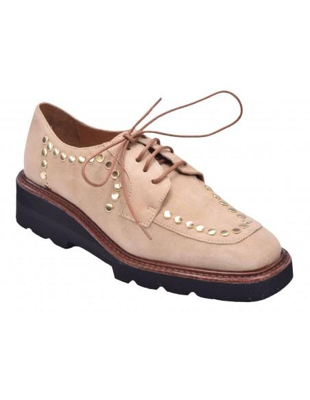 chaussure, derbies, femme petites pointures, beige, vue diagonale