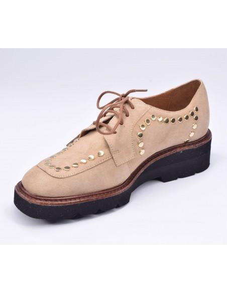 chaussure, derbies, femme petites pointures, beige, vue diagonale côté intérieur