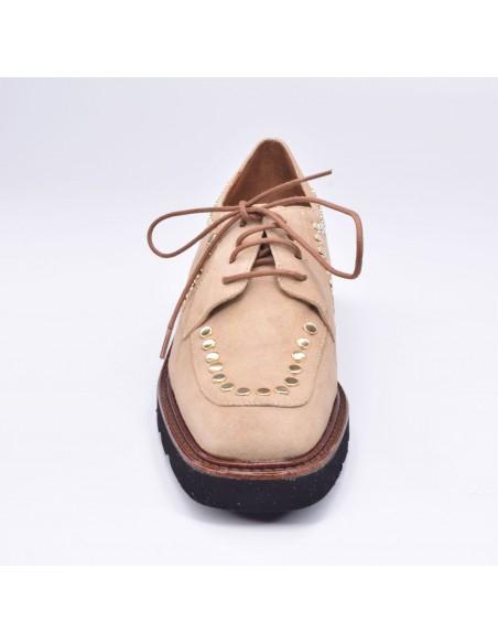 chaussure, derbies, femme petites pointures, beige, vue avant