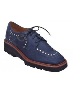 chaussure, derbies, femme petites pointures, bleu marine, vue diagonale