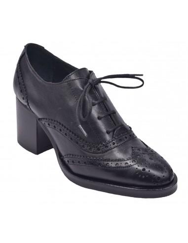 chaussure, derbies, femme petites pointures, noir, vue diagonale