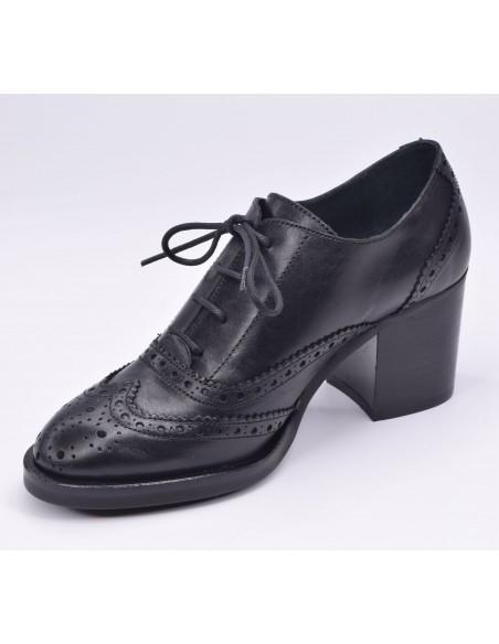 chaussure, derbies, femme petites pointures, noir, vue diagonale côté intérieur
