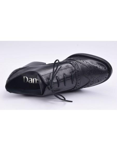 chaussure, derbies, femme petites pointures, noir, vue diagonale couché avant