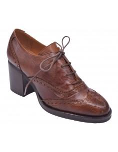 chaussure, derbies, femme petites pointures, marron, vue en diagnole