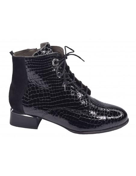 Bottines Lacets Croco Verni noir, femme petites pointures, Softwaves, 100801