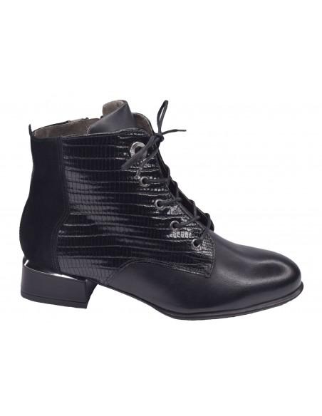 Bottines Lacets cuir lisse noir, femme petite pointure, Softwaves, 100801