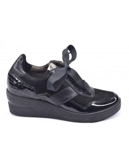 Baskets compensées noires femme petites pointures, 77030, Softaves