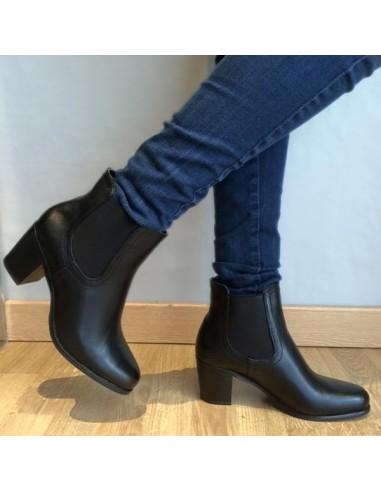 מגפי קרסול שחורים עקב נמוך, נעלי נשים זולות וטרנדיות