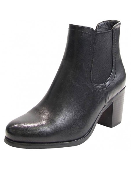 Low-heeled black ankle boots, trendy cheap women's shoes