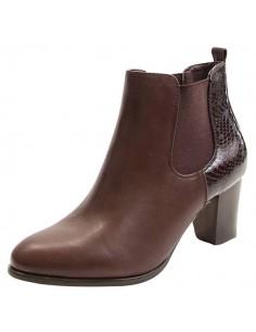 chaussures femme petit prix Bottines marron croco pas cher