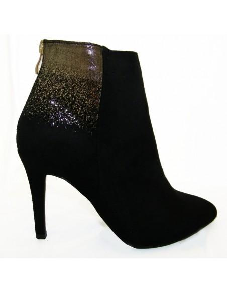 chaussures femme pas cher Bottines chic noires et dore petit prix fete soirees
