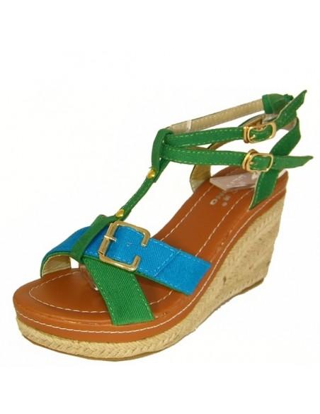 """Sandales """"Thym"""" bleu et vert"""