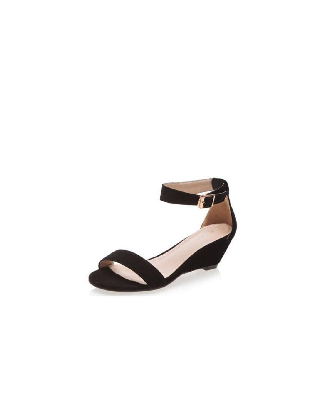 brand new great prices huge sale Sandales noires à petits talons compensés en petite pointure femme