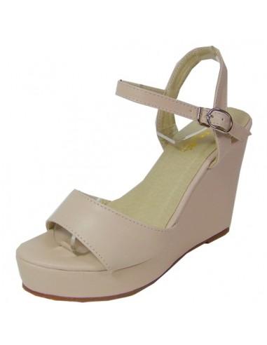 sandales rose poudr talons compens s en petite pointure femme. Black Bedroom Furniture Sets. Home Design Ideas