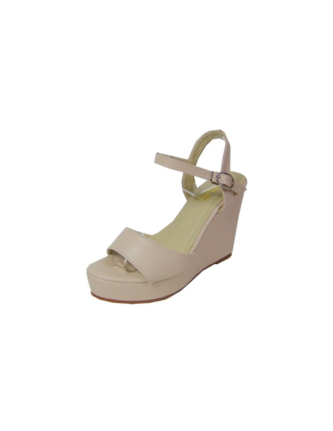 Sandales rose poudré à talons compensés en petite pointure femme c737475b4ce6