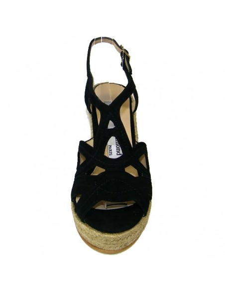 Women's black wedge espadrilles Yves de beaumond